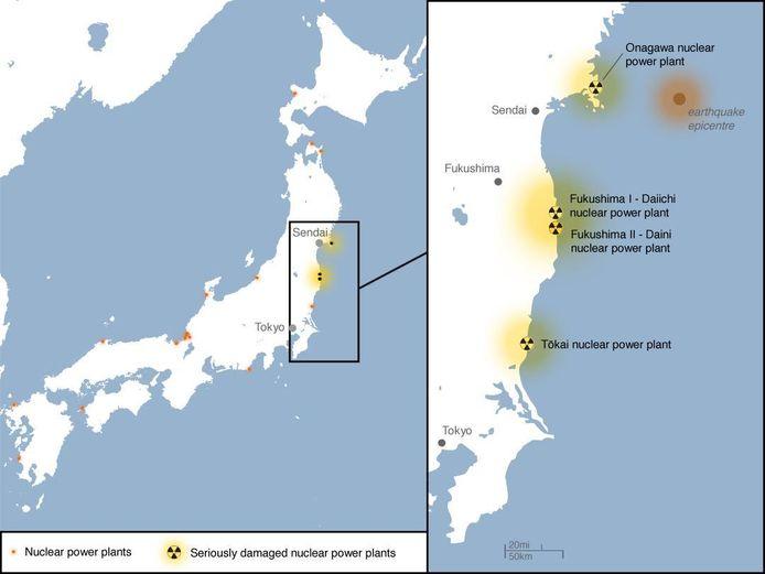 Kaart van het getroffen gebied.