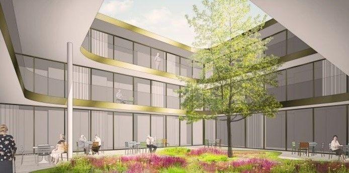 Het nieuwe zorgcomplex komt op een braakliggend terrein.