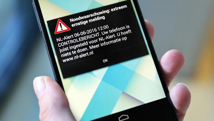 Een controlebericht van NL-alert