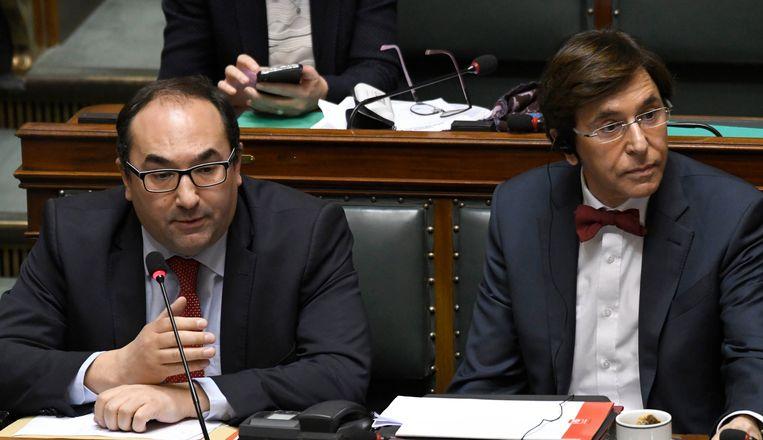 Ahmed Laaouej en Elio Di Rupo  van de PS, archiefbeeld.