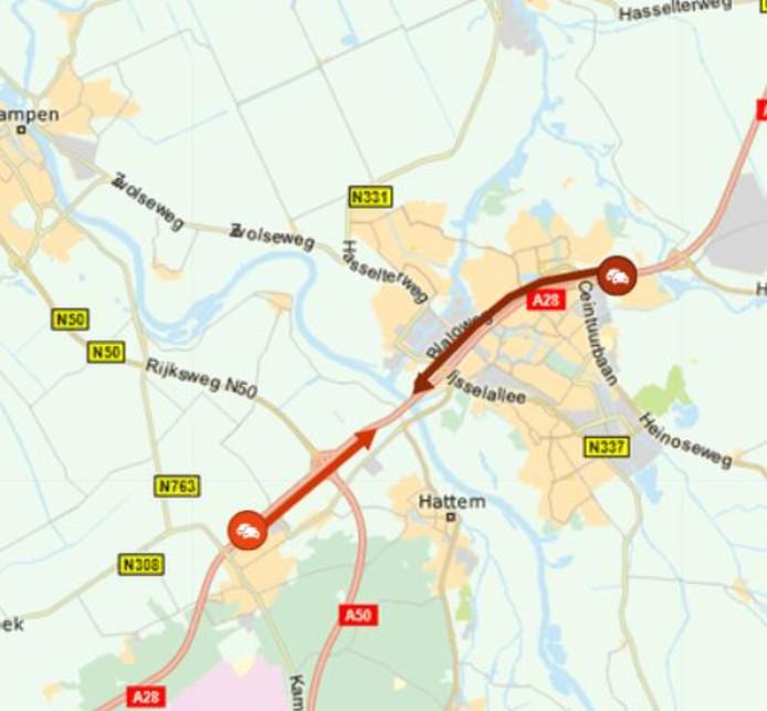 Het staat muurvast tussen Ommen en Zwolle Zuid