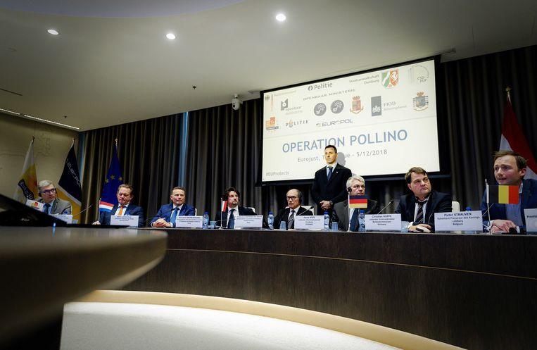 De persconferentie over Operatie Pollino in Den Haag. Beeld ANP