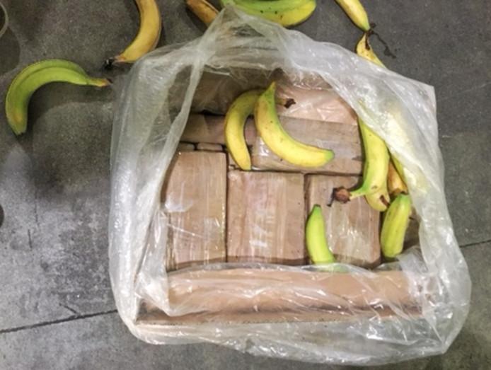 De cocaïne zat verstopt tussen de bananen.