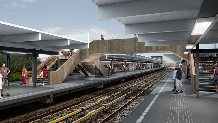 Artist impression van het vernieuwde station Van der Madeweg Beeld Group A