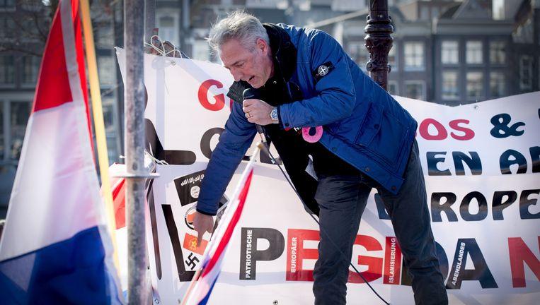 Pegidavoorman Edwin Wagensveld, zaterdag tijdens de demonstratie in Amsterdam. Beeld ANP