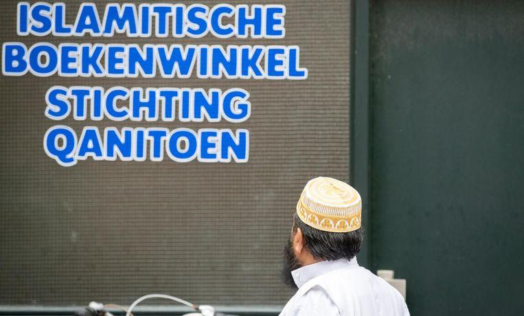De gevel van de islamitische boekenwinkel Qanitoen. Beeld anp