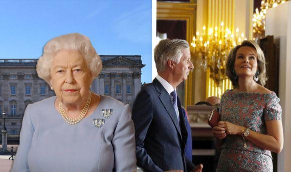 Queen Elizabeth voor Buckingham Palace en koning Filip en Mathilde in het paleis in Brussel.