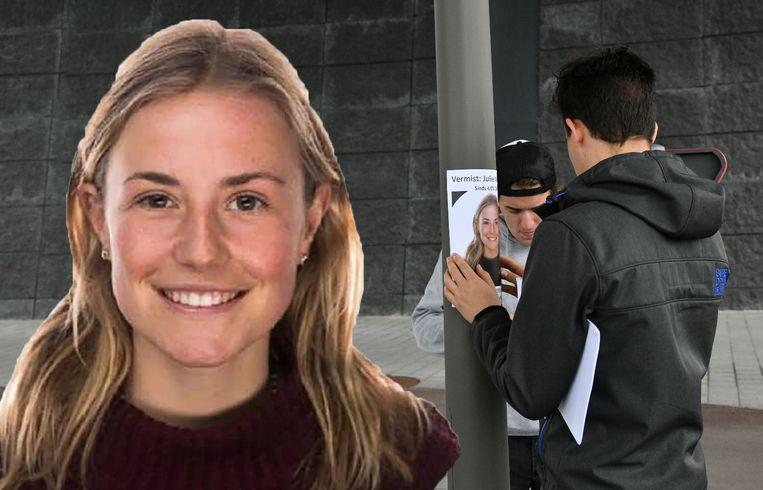 Studente Julie Van Espen (23) verdween zaterdagavond. Vrienden hingen zondag langs het vermoedelijke fietstraject langs het Albertkanaal affiches op.