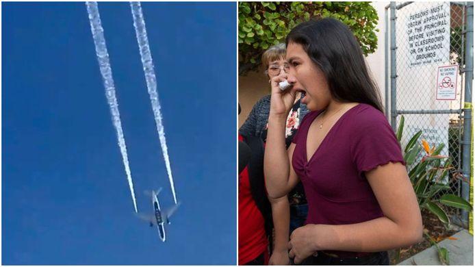 Sur la gauche : Le vol 89 de Delta Airlines largue du kérosène au-dessus de Los Angeles. A droite : une femme souffre d'une irritation due au contact avec le carburant.