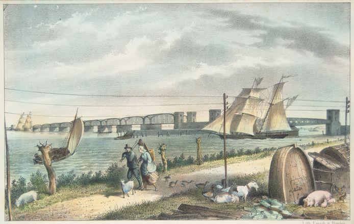 De eerste spoorbrug had nog twee openingen voor te hoge schepen.