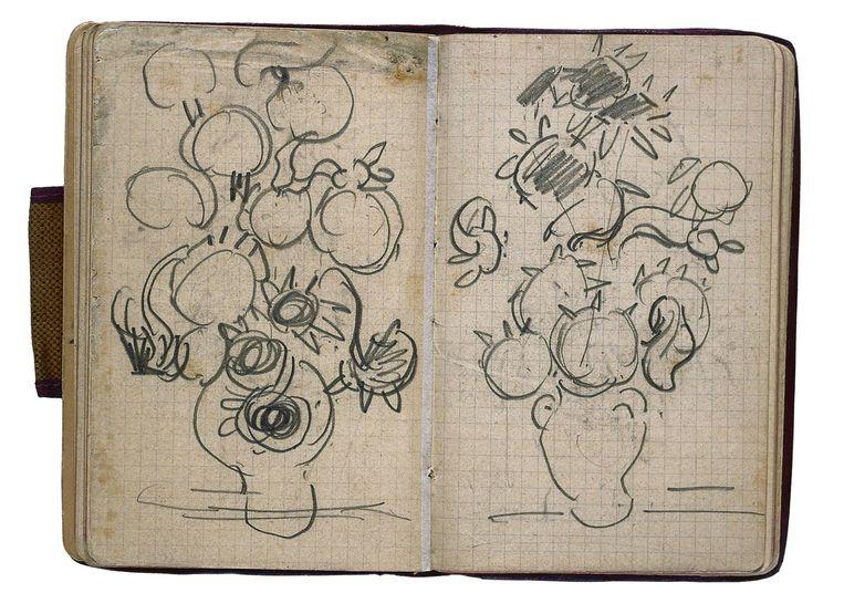 Schetsen van vazen met zonnebloemen, in: schetsboek uit Parijs en Auvers-sur-Oise, 1890. Beeld  Petra en Erik Hesmerg