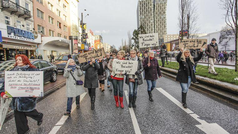 Demonstratie tegen seksueel geweld tegen vrouwen in Hamburg, 10 januari. Beeld null