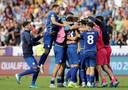 De Kosovaren vieren feest na de overwinning op Tsjechië, afgelopen zaterdag (2-1).