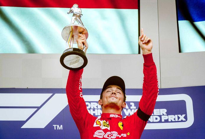Charles Leclerc van Ferrari na de overwinning van de F1 Grand Prix van Belgie.