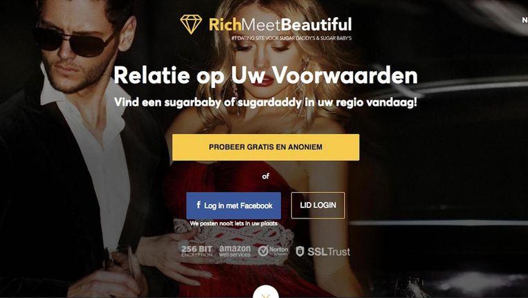 Via Richmeetbeautiful kunnen vrouwen een partner zoeken die tegen vergoeding met hen wil afspreken. Beeld www.richmeetbeautiful.com
