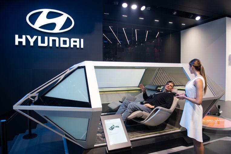 De stand van Hyundai in Frankfurt. Beeld Getty