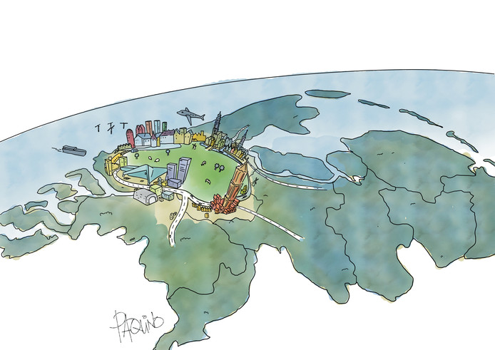 Ter illustratie: Utrecht, Amsterdam, Rotterdam en Den Haag als New York met het Groene Hart als Central Park.