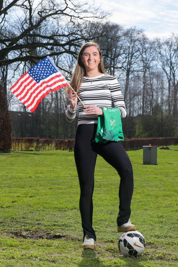 Britt Tönis hoopt het shirt van FC Berghuizen nog een keer te kunnen dragen, voordat ze naar Amerika vertrekt.