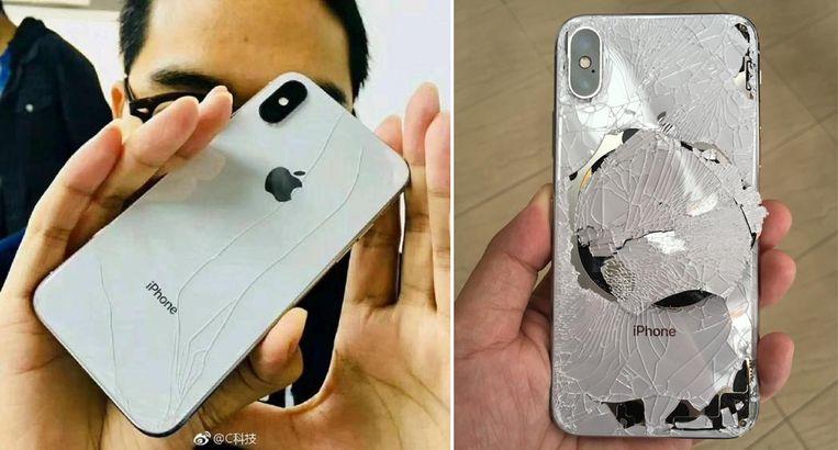 De linkse eigenaars beleefde de nachtmerrie van zijn leven en liet de gloednieuwe iPhone per ongeluk vallen. Rechts zie je het resultaat van een valtest vanop 1,5 meter hoogte.