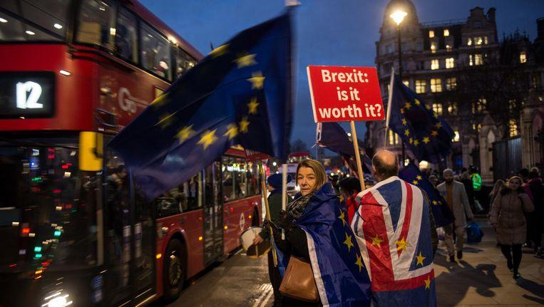 Alle ogen gericht op het Britse parlement, dat later op de dag zal stemmen over de brexitdeal van premier Theresa May. Beeld anp