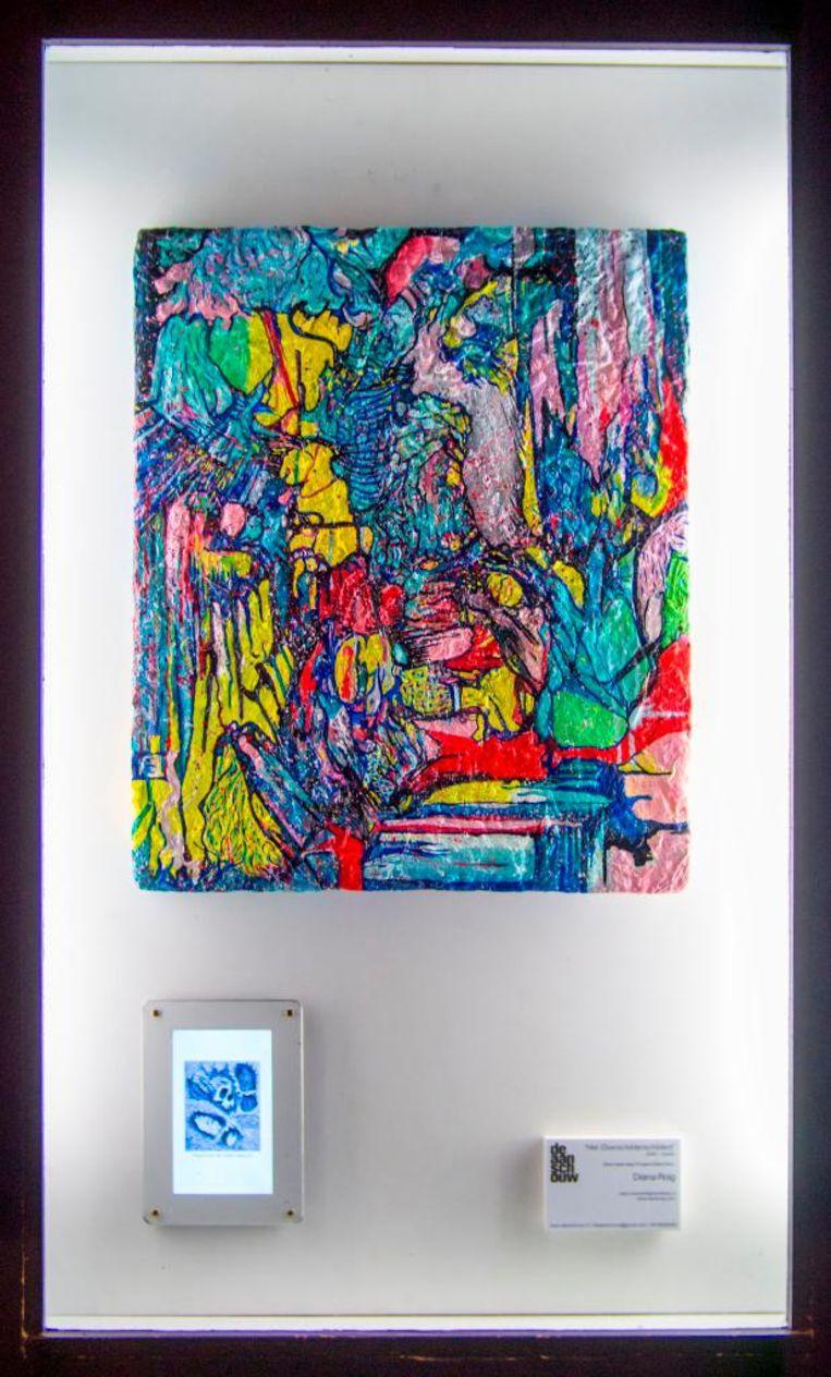 Het overschilderschilderij, de versie van Diana Roig. Beeld