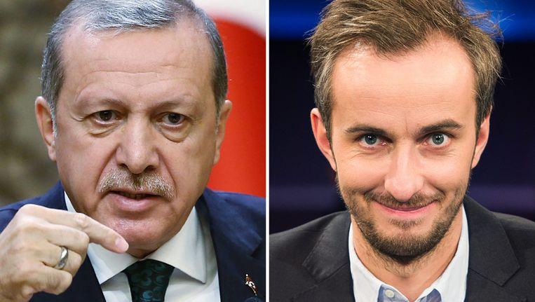 De Turkse president Recep Tayyip Erdogan en komiek Jan Böhmermann.