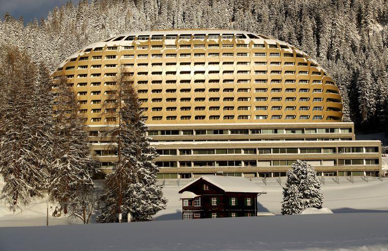 Het InterContinental hotel in Davos waar veel staatshoofden verblijven.