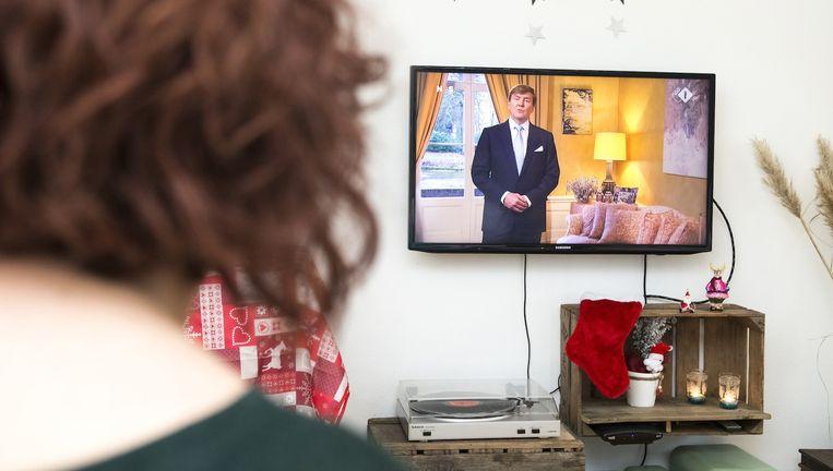 De kersttoespraak van koning Willem-Alexander heeft vrijdag iets meer dan 1,6 miljoen kijkers getrokken. Beeld anp