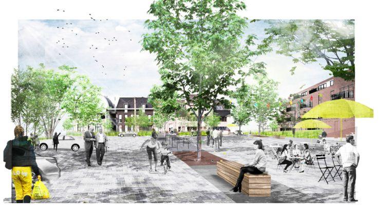 Zo zal het plein voor Den Tir eruitzien.