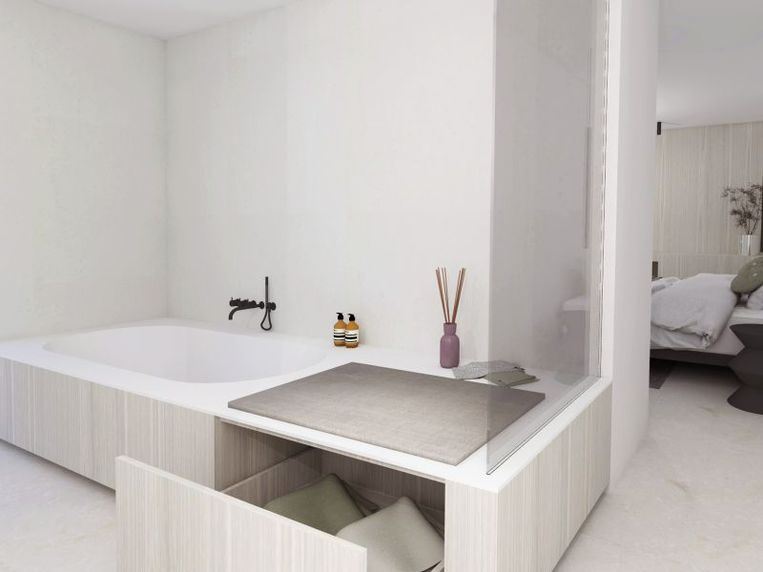 Maak de afkasting van je bad breder zodat je er een zitelement, lade of kast in kan verwerken.