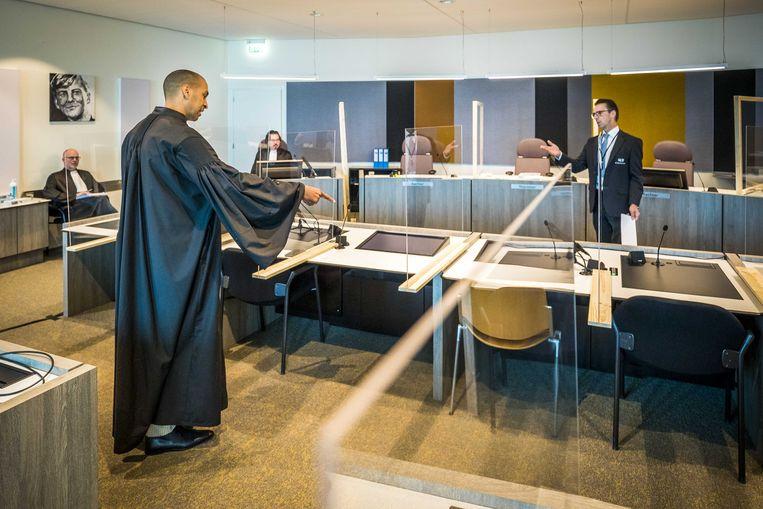 Advocaat Gerald Roethof in de rechtbank van Maastricht, vorige week voorafgaand aan de pro-formazitting in de zaak tegen Jos B. Beeld ANP