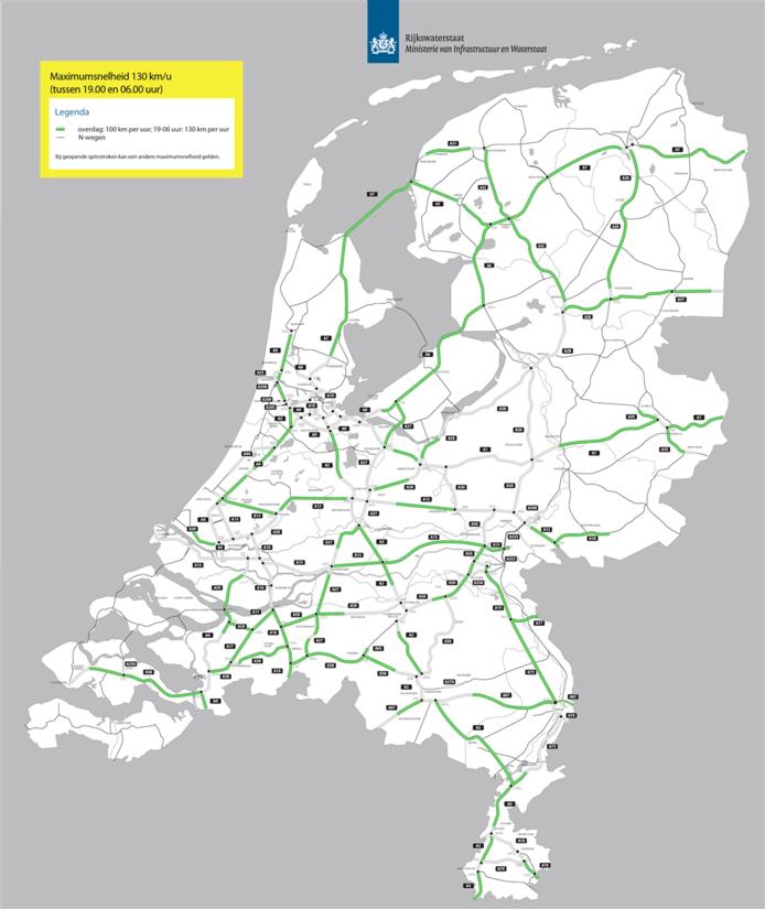 De snelwegen waar de maximumsnelheid tussen 19.00 en 06.00 uur 130 km per uur is. De A1, A28 en A50 rondom de Veluwe vormen een uitzondering.