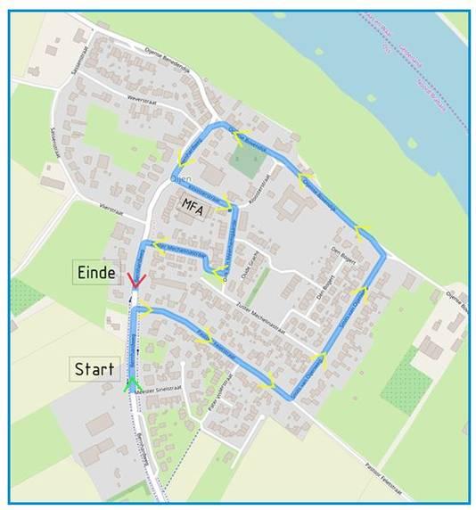 De route van de optocht in Oijen.