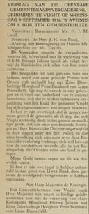 Bericht bekendmaking verloving van prinses Juliana met Bernhard zur Lippe-Biesterfeld wordt aangekondigd in 'De Aankondiger' van 12 september 1936.