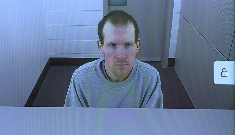 Brenton Tarrant werd gehoord via een videoverbinding met de gevangenis in Auckland, waar hij vastzit. Beeld AP