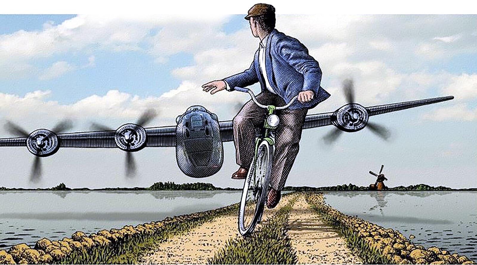Piloot Haynes Baumgardner vliegt met Liberator bommenwerper laag over West-Brabant in 1944. Geert Krijnen uit Zevenbergen duikt van zijn fiets.