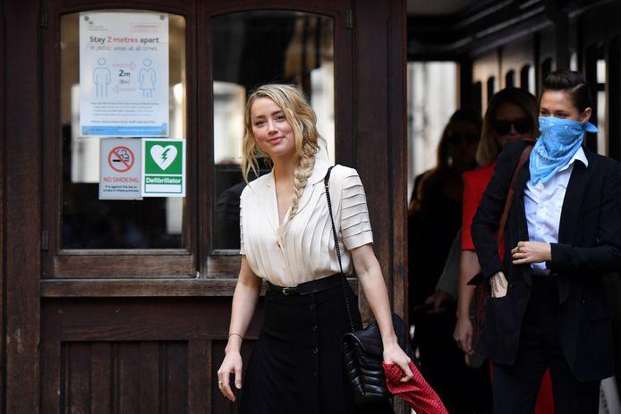 L'actrice américaine Amber Heard à son arrivée à la Haute Cour de Londres ce lundi 20 juillet 2020.