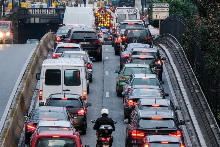 File aan de Brusselse tunnels