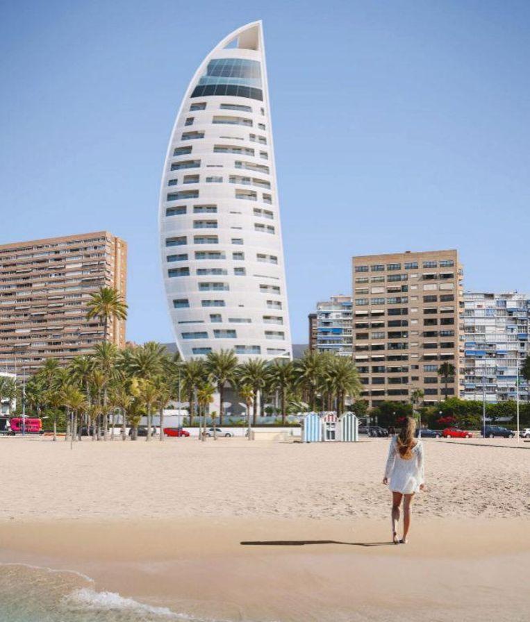 De Delfin Tower zal eruitzien als een zeil van een boot en herbergt 44 luxe-appartementen. De toren wordt gebouwd op het laatst nog beschikbare perceel grond langs de kust van Benidorm.
