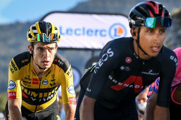 Van Aert reed op de Colombier gisteren Bernal uit het wiel.
