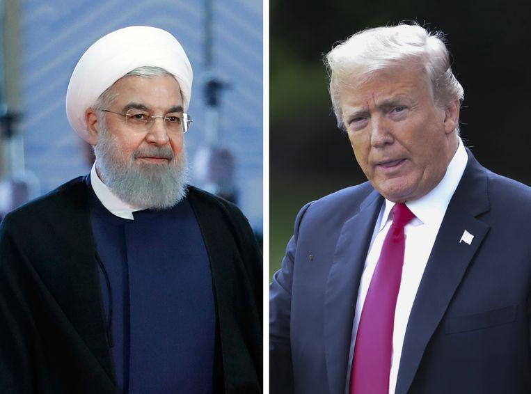 De Iraanse president Hassan Rouhani (L) en de Amerikaanse president Donald Trump.