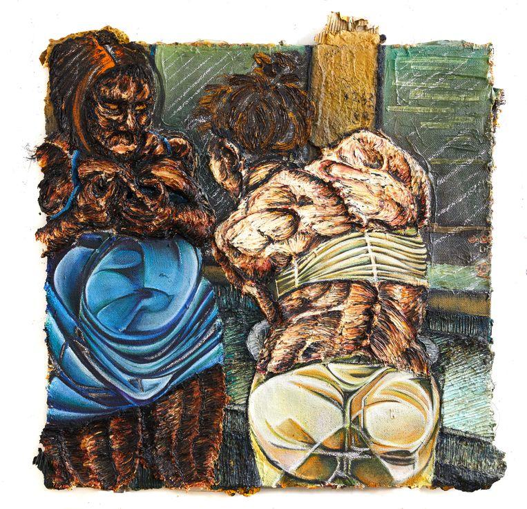 Raquel van Haver, Hookers in Toilets, 120 x 120 cm, olieverf, hars, houtskool, kool, gel, teer, haar, gips, klei, karton, plastic, as op jute, 2016. Beeld rv