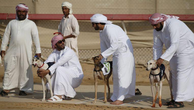 Mannen in traditionele kledij tijdens een hondenrace in de Verenigde Arabische Emiraten. Beeld epa