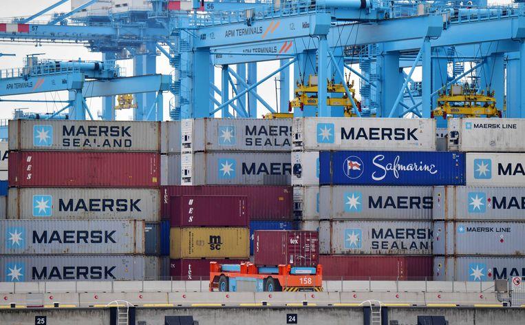 De containerterminal van APM op de Maasvlakte. Het havenbedrijf ligt stil na een ransomware-aanval.  Beeld ANP