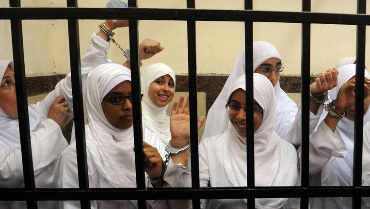 De veroordeelde Egyptische demonstrantes. Beeld AFP