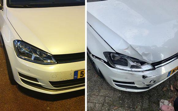 Voor en na: de schade aan de auto van het gezin was behoorlijk.