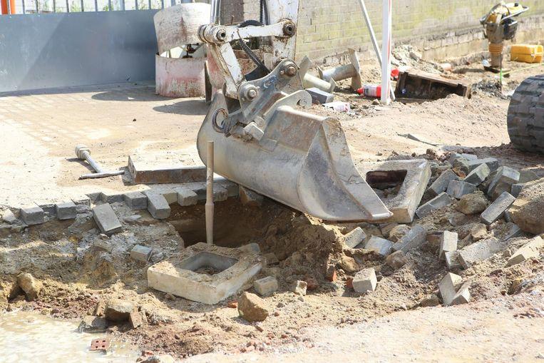 De plaats waar arbeiders de gasleiding raakten.