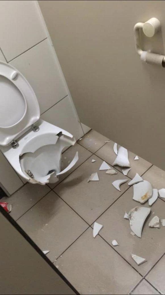 DE vandaal of vandalen vernielden onder meer de toiletten en het servies.