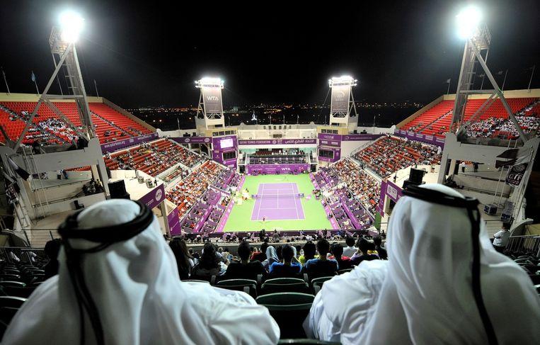 Prestigieuze tennistoernooien, zowel voor mannen als voor vrouwen, staan al jaren in Qatar op het programma. Beeld epa
