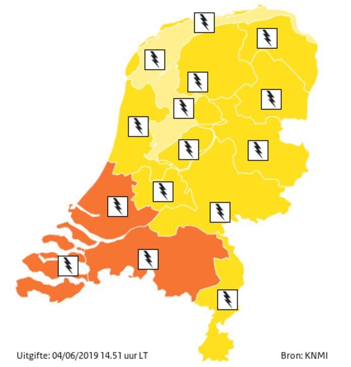 KNMI gaf om 15 uur code oranje voor o.a Brabant